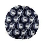 Geometric Deer Retro Pattern Standard 15  Premium Flano Round Cushions Front