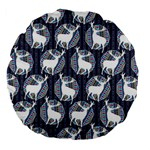 Geometric Deer Retro Pattern Large 18  Premium Flano Round Cushions Front