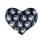 Geometric Deer Retro Pattern Standard 16  Premium Flano Heart Shape Cushions Front
