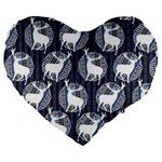 Geometric Deer Retro Pattern Large 19  Premium Flano Heart Shape Cushions Front