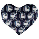 Geometric Deer Retro Pattern Large 19  Premium Flano Heart Shape Cushions Back