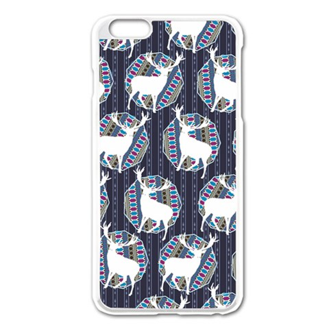 Geometric Deer Retro Pattern Apple iPhone 6 Plus/6S Plus Enamel White Case