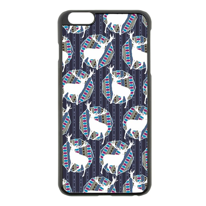 Geometric Deer Retro Pattern Apple iPhone 6 Plus/6S Plus Black Enamel Case