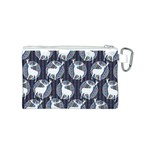 Geometric Deer Retro Pattern Canvas Cosmetic Bag (S) Back