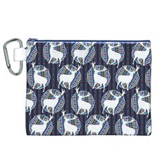 Geometric Deer Retro Pattern Canvas Cosmetic Bag (xl)