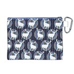 Geometric Deer Retro Pattern Canvas Cosmetic Bag (XL) Back