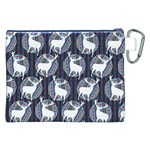 Geometric Deer Retro Pattern Canvas Cosmetic Bag (XXL) Back