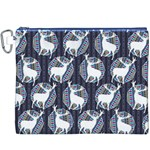 Geometric Deer Retro Pattern Canvas Cosmetic Bag (XXXL) Front