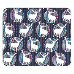 Geometric Deer Retro Pattern Double Sided Flano Blanket (Small)