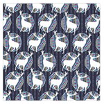 Geometric Deer Retro Pattern Large Satin Scarf (Square) Front