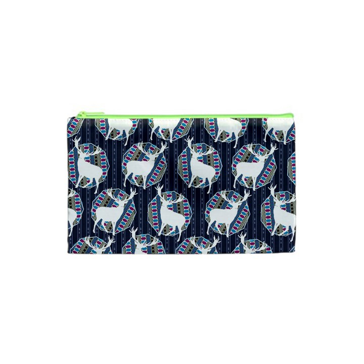 Geometric Deer Retro Pattern Cosmetic Bag (XS)
