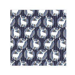 Geometric Deer Retro Pattern Small Satin Scarf (Square)