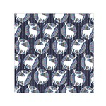 Geometric Deer Retro Pattern Small Satin Scarf (Square)  Front
