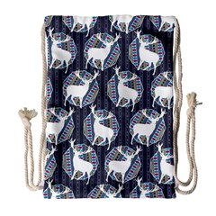 Geometric Deer Retro Pattern Drawstring Bag (Large)