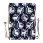 Geometric Deer Retro Pattern Drawstring Bag (Large) Front
