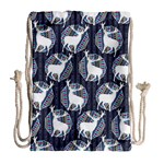 Geometric Deer Retro Pattern Drawstring Bag (Large) Back