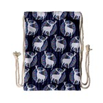 Geometric Deer Retro Pattern Drawstring Bag (Small) Back