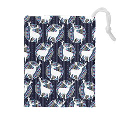 Geometric Deer Retro Pattern Drawstring Pouches (extra Large)