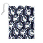 Geometric Deer Retro Pattern Drawstring Pouches (Extra Large) Back