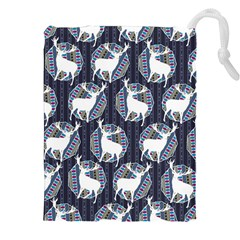 Geometric Deer Retro Pattern Drawstring Pouches (XXL)