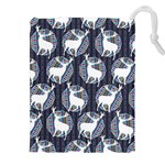 Geometric Deer Retro Pattern Drawstring Pouches (XXL) Front