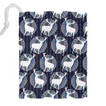 Geometric Deer Retro Pattern Drawstring Pouches (XXL) Back