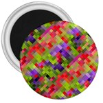 Colorful Mosaic 3  Magnets Front