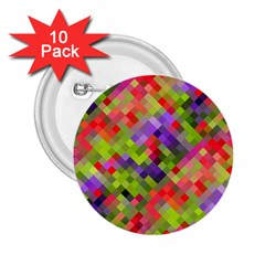 Colorful Mosaic 2 25  Buttons (10 Pack)