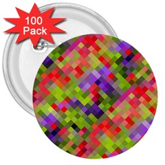 Colorful Mosaic 3  Buttons (100 pack)