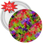 Colorful Mosaic 3  Buttons (100 pack)  Front