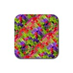 Colorful Mosaic Rubber Square Coaster (4 pack)  Front