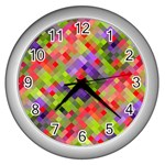 Colorful Mosaic Wall Clocks (Silver)  Front