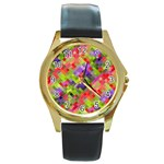 Colorful Mosaic Round Gold Metal Watch Front