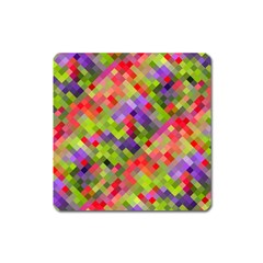 Colorful Mosaic Square Magnet