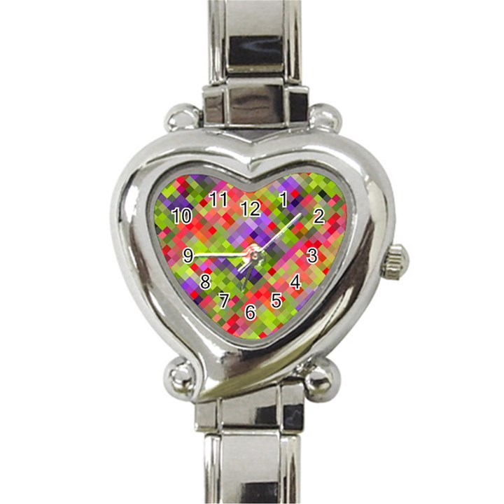 Colorful Mosaic Heart Italian Charm Watch