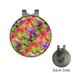 Colorful Mosaic Hat Clips with Golf Markers Front