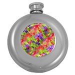 Colorful Mosaic Round Hip Flask (5 oz) Front