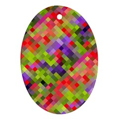 Colorful Mosaic Oval Ornament (two Sides)