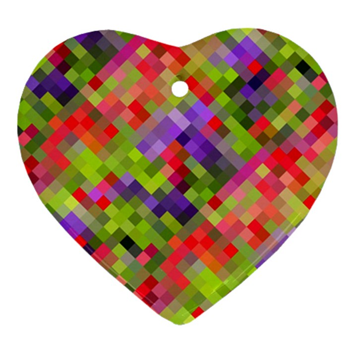 Colorful Mosaic Heart Ornament (2 Sides)