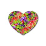 Colorful Mosaic Rubber Coaster (Heart)  Front