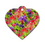 Colorful Mosaic Dog Tag Heart (Two Sides) Front
