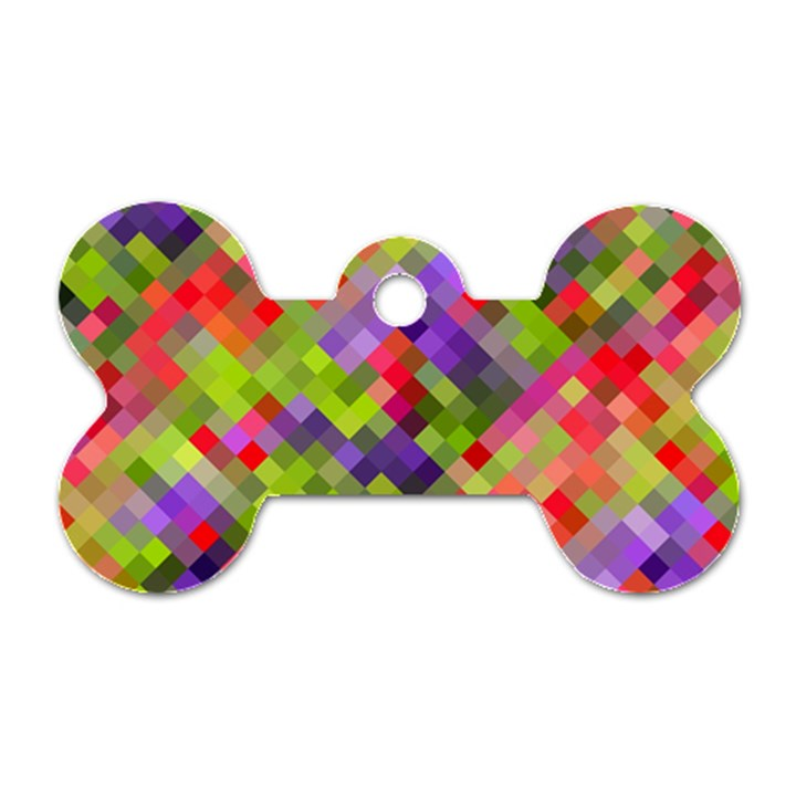 Colorful Mosaic Dog Tag Bone (Two Sides)