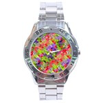 Colorful Mosaic Stainless Steel Analogue Watch Front