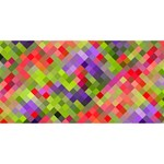 Colorful Mosaic Twin Hearts 3D Greeting Card (8x4) Front