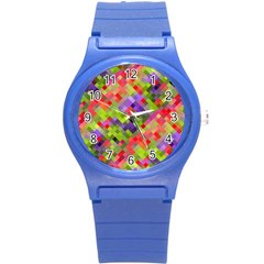 Colorful Mosaic Round Plastic Sport Watch (S)