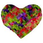 Colorful Mosaic Large 19  Premium Heart Shape Cushions Back