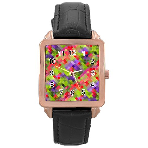 Colorful Mosaic Rose Gold Leather Watch