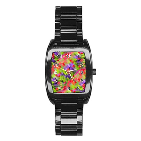 Colorful Mosaic Stainless Steel Barrel Watch