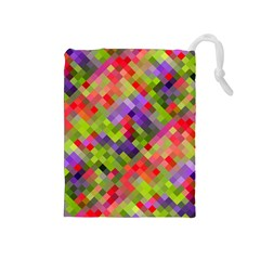 Colorful Mosaic Drawstring Pouches (medium)