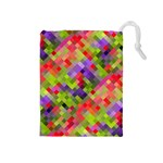 Colorful Mosaic Drawstring Pouches (Medium)  Front